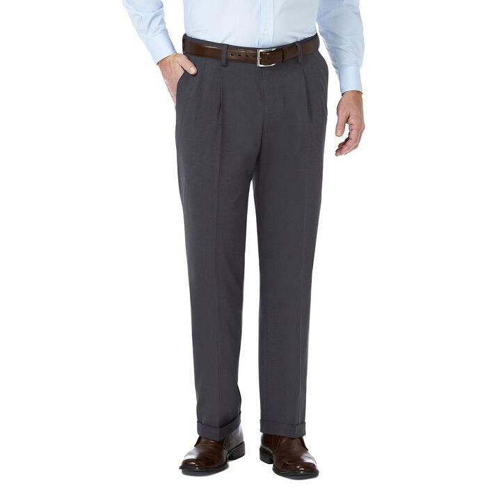 J.M. Haggar Premium Stretch Suit Pant - Pleated Front, Dark Heather Grey