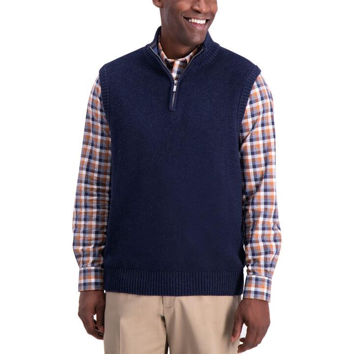 1/4 Zip Sweater Vest, Navy Heather