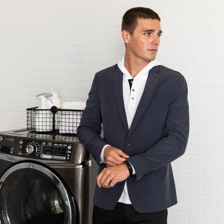 Smart Wash™ Performance Tech Blazer, Heather Navy open image in new window
