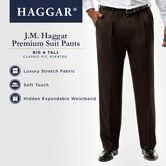 Big & Tall J.M. Haggar Premium Stretch Suit Pant - Pleated Front, Dark Heather Grey 4