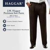 Big & Tall J.M. Haggar Premium Stretch Suit Pant - Pleated Front, Chocolate view# 5