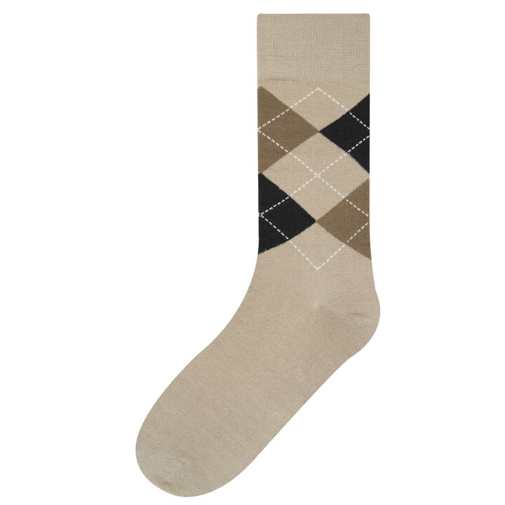 Dress Sock - Argyle, British Khaki
