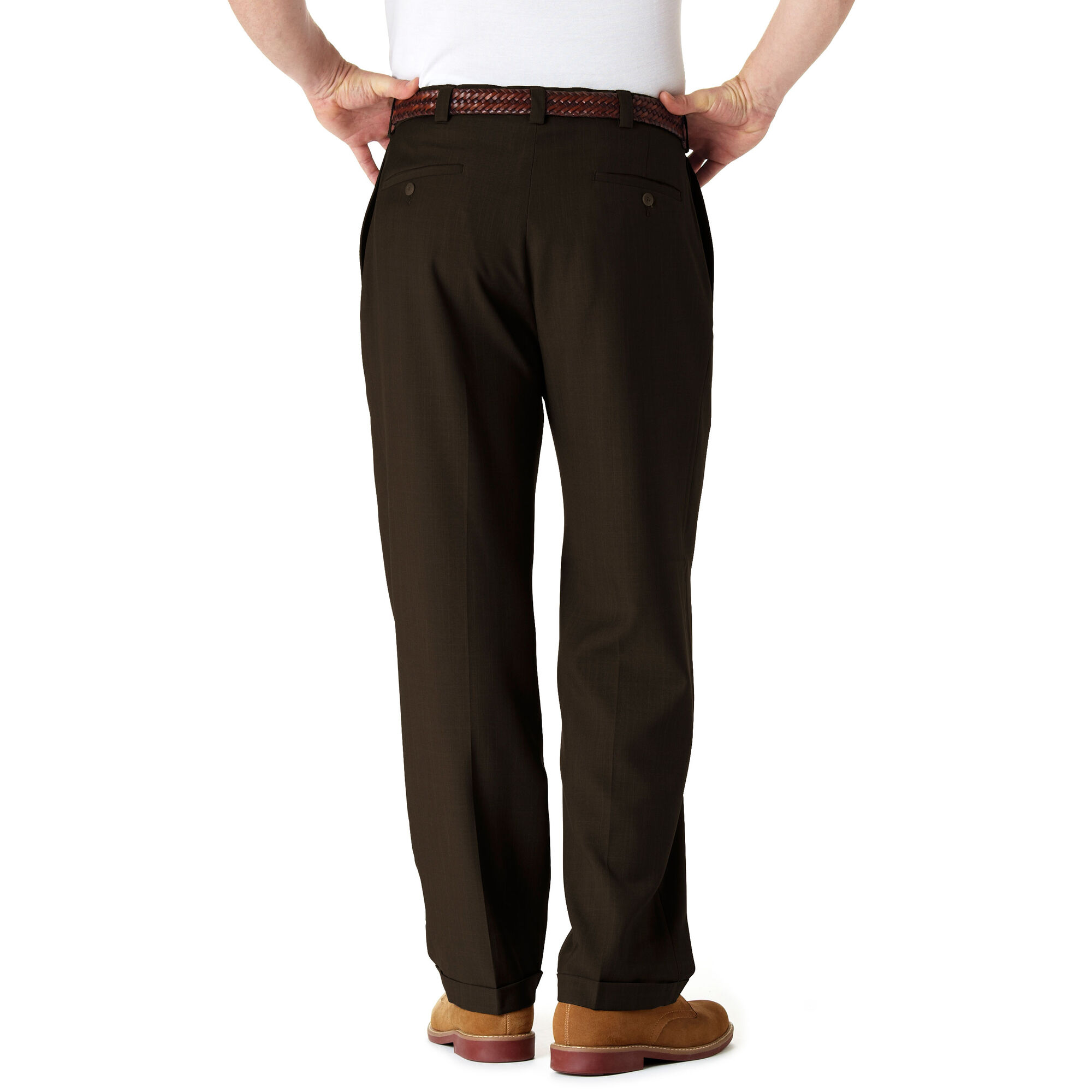 Haggar Mens Big /& Tall eCLo Stria Pleat-Front Expandable Waist Dress Pant