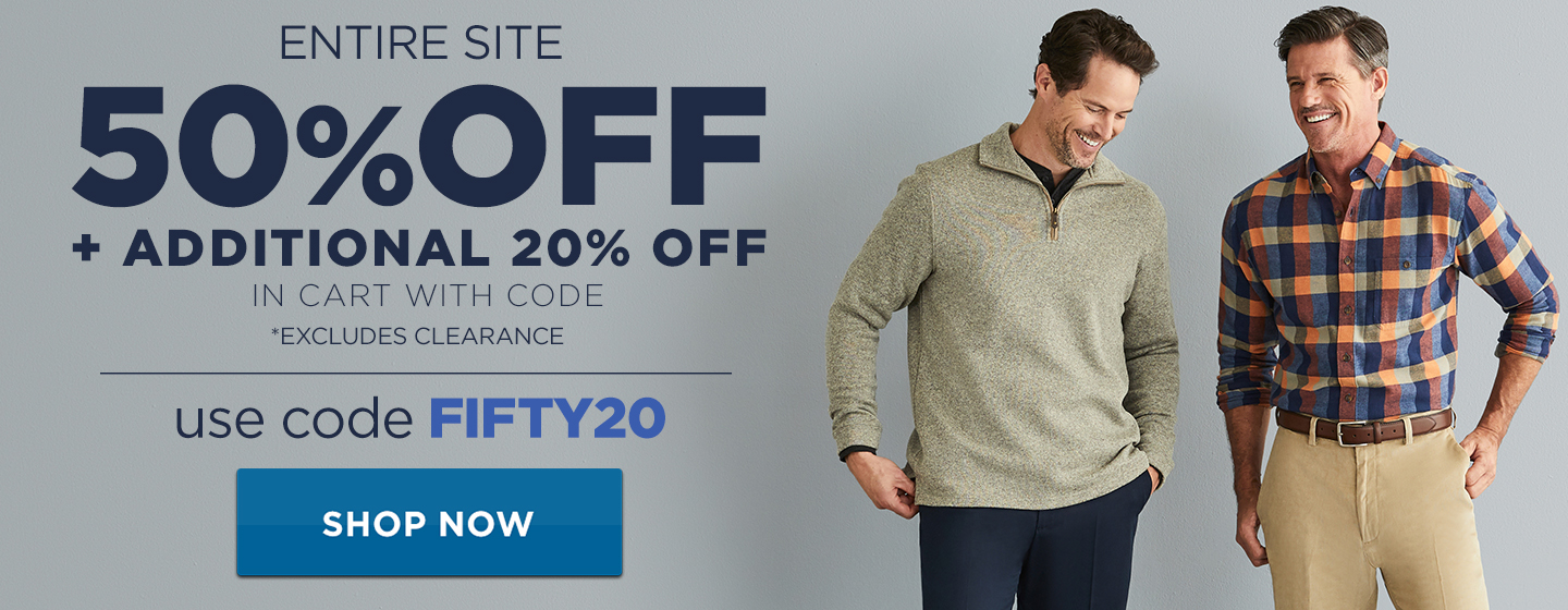 50% off Entire Site + additional 20% off in cart