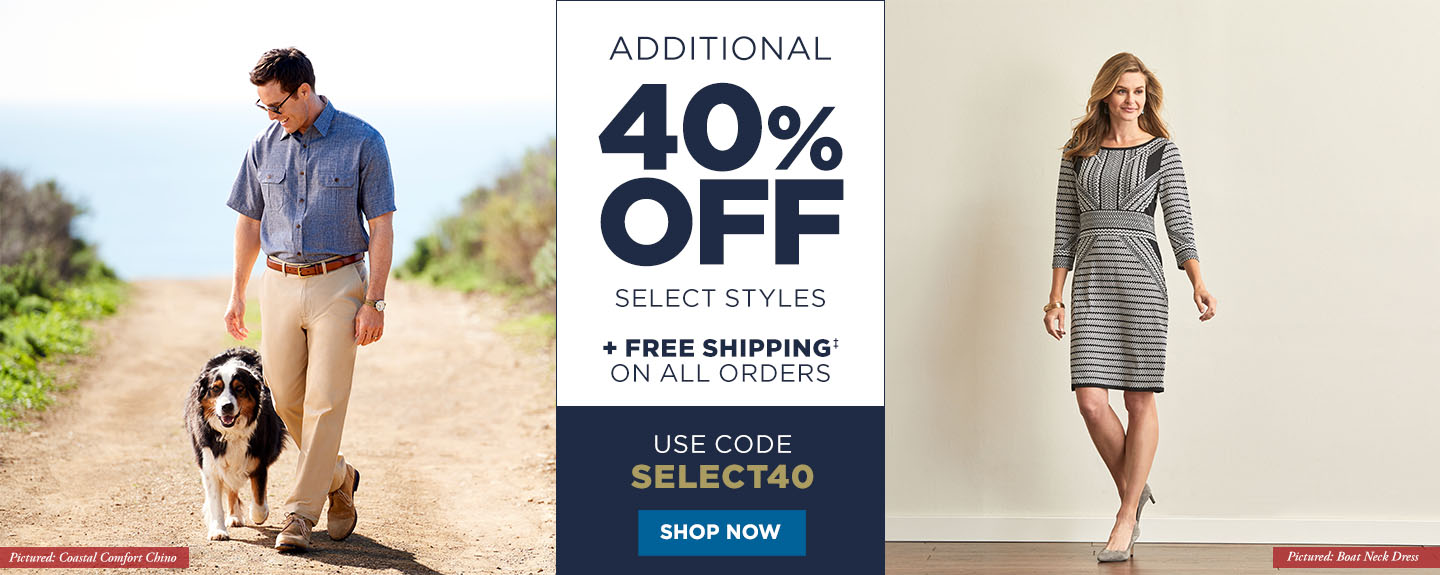 40% off Select Styles + Free Shipping