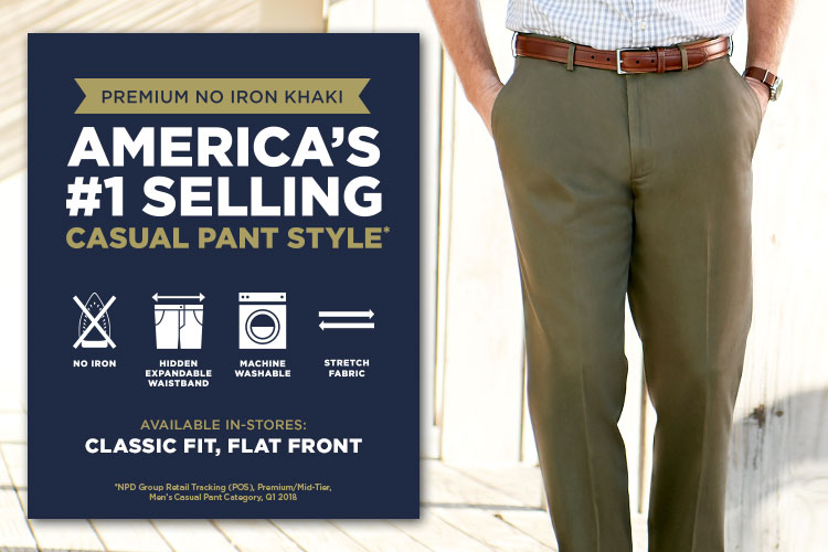 Premium No Iron Khaki Pants