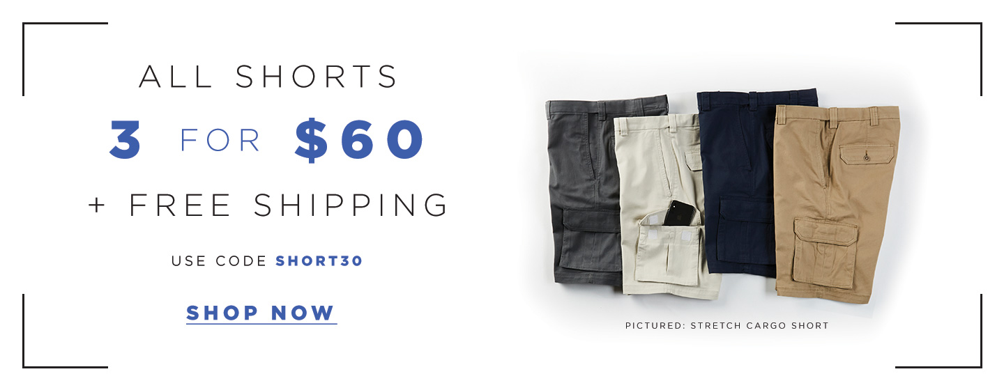 All Shorts 3 for $60 +  Free Shipping, Polos $21.99