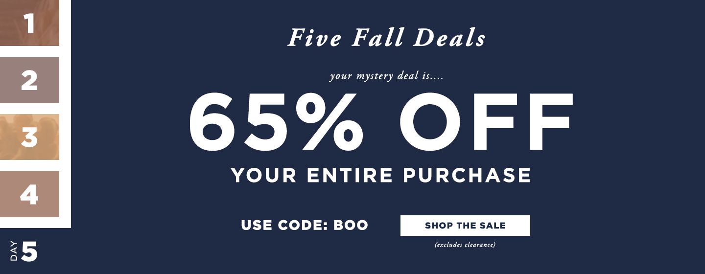 Five Fall Deals - 65% off Sitewide