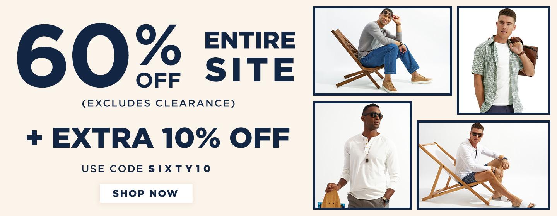 60% off Entire site + adtl 10% off in Cart w/ code