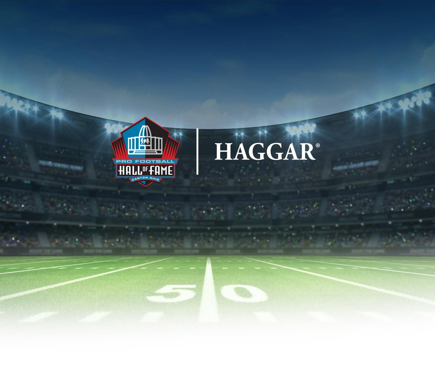 Pro Football Hall of Fame & Haggar logos