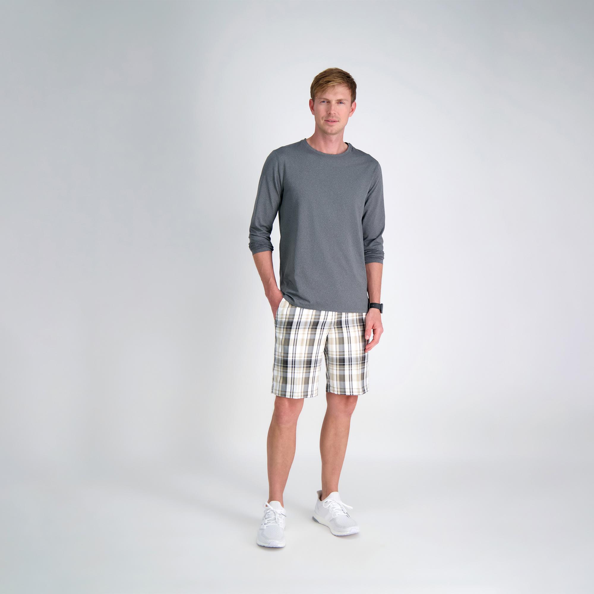 Haggar Mens Cool 18 Pro Stretch Madras Plaid Flat Front Short Casual Shorts