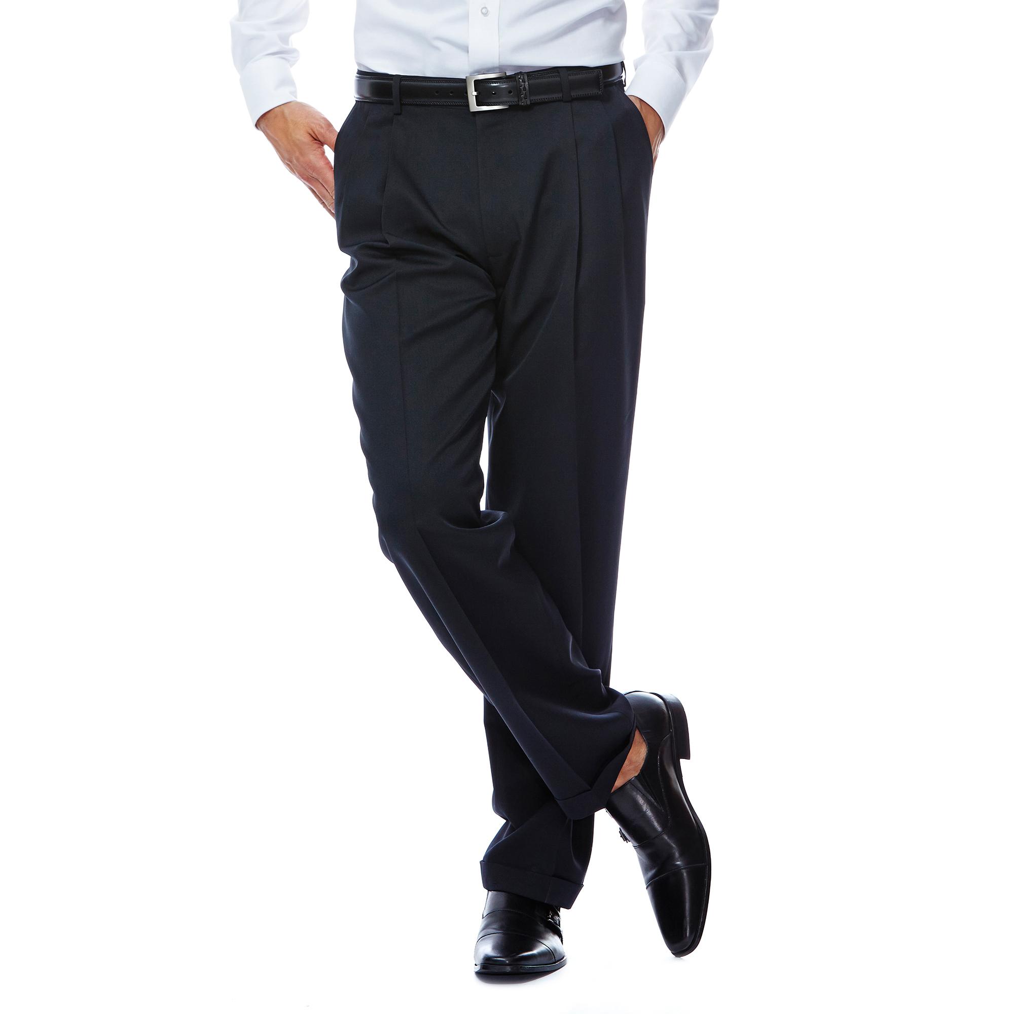 Haggar Men/'s Two-Tone Herringbone Expandable-Waist Pleat-Front Dress Pant