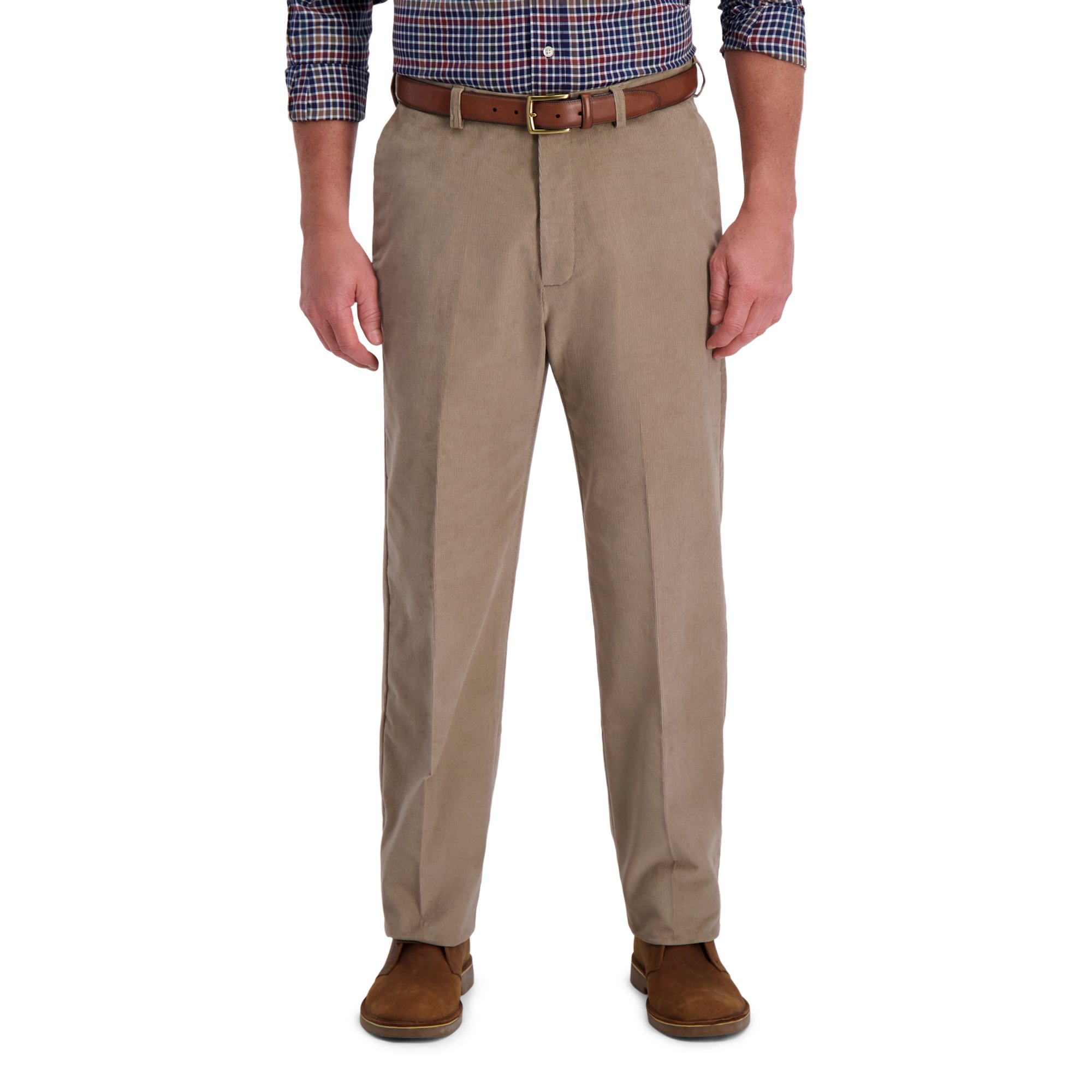 Haggar Mens Corduroy Classic Fit Flat Front Expandable Waistband Pant